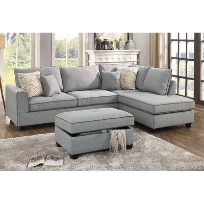 Malta Reversible Sectional Upholstery: Light Gray