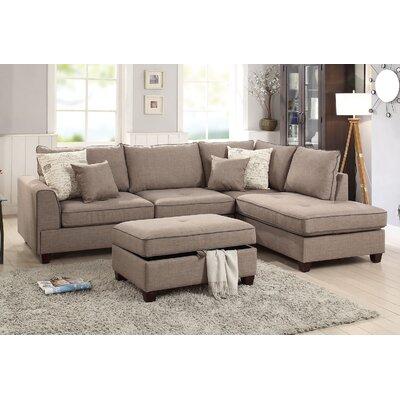 Malta Reversible Sectional Upholstery: Mocha