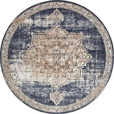 Abbeville Blue Area Rug Rug Size: Round 8