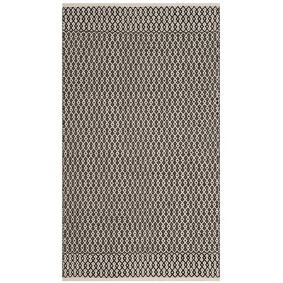 Mooreton Hand-Woven Ivory/Black Area Rug Rug Size: Rectangle 3 x 5