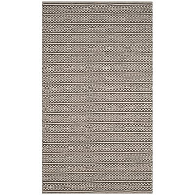 Oxbow Hand-Woven Cotton Ivory/Black Area Rug Rug Size: Rectangle 5 x 8