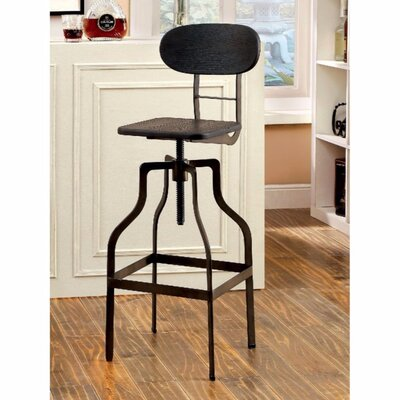 Renfrow Adjustable Height Swivel Bar Stool Color: Black