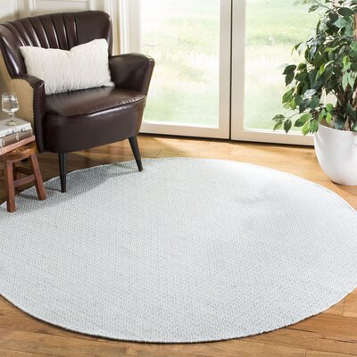 Oxbow Hand-Woven Ivory/Light Blue Area Rug Rug Size: Round 6