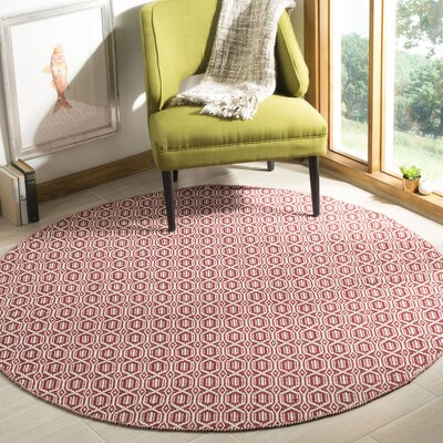 Oxbow Hand-Woven Red Area Rug Rug Size: Round 6