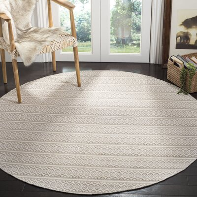 Oxbow Hand-Woven Ivory Area Rug Rug Size: Round 6