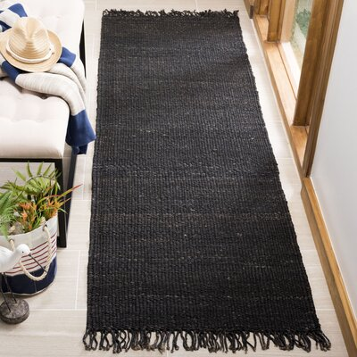 Lookout Fiber Hand-Woven Black Area Rug Rug Size: Runner 26 x 8