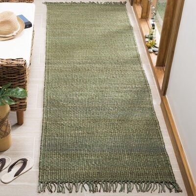 Lookout Fiber Hand-Woven Green Area Rug Rug Size: Runner 26 x 8