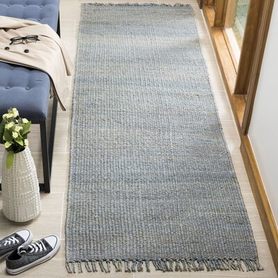 Lookout Fiber Hand-Woven Blue Area Rug Rug Size: Runner 26 x 8