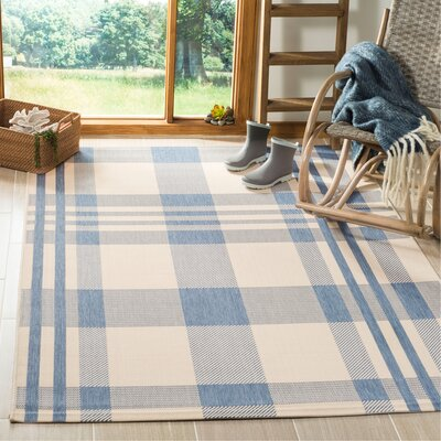 Frazier Beige/Blue Indoor/Outdoor Area Rug Rug Size: Rectangle 53 x 77