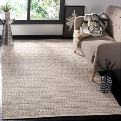 Oxbow Hand-Woven Ivory Area Rug Rug Size: Rectangle 5 x 8