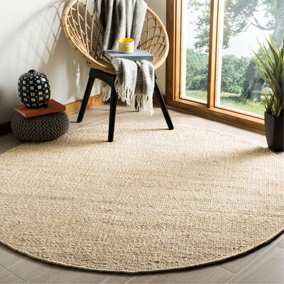 Lookout Fiber Hand-Woven Ivory Area Rug Rug Size: Round 6
