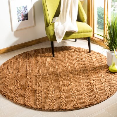 Tyler Hand-Woven Gold Area Rug Rug Size: Round 6
