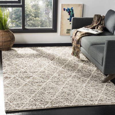 Billie Hand-Tufted Ivory/Stone Area Rug Rug Size: Rectangle 5 x 8
