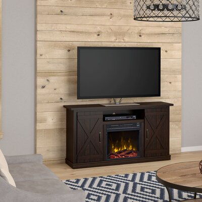 Serein 48 TV Stand with Fireplace Finish: Saw Cut Espresso