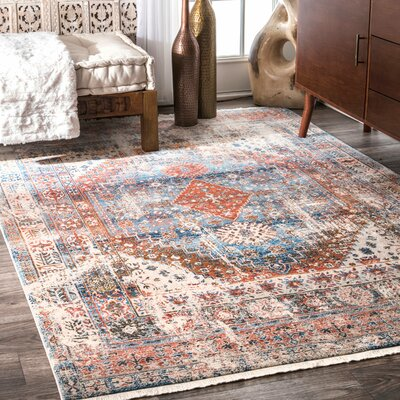 Houston Blue/Orange Area Rug Rug Size: Runner 2' 6