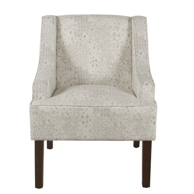 Annette Accent Armchair Upholstery: Beige and Ivory, Finish: Espresso
