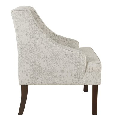 Annette Accent Armchair Upholstery: Cream and Gray, Finish: Dark Walnut