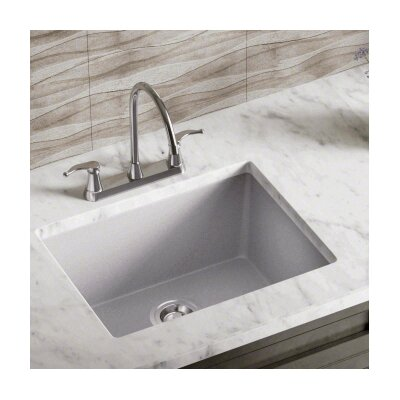 21.63 x 16.88 Single Bowl AstraGranite Kitchen Sink Finish: Silver