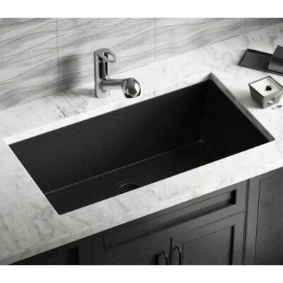 32.63 x 18.38 Single Bowl Undermount Kitchen Sink Finish: Black