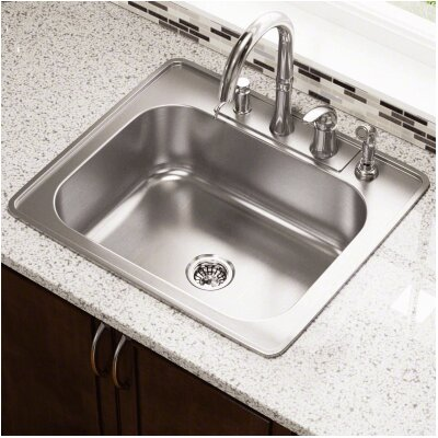 25 x 22 Single Bowl Drop-In Stainless Steel Kitchen Sink