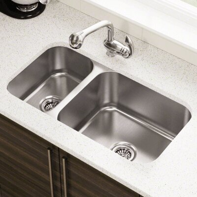 32.25 x 18 Offset Double Bowl Undermount Stainless Steel Kitchen Sink