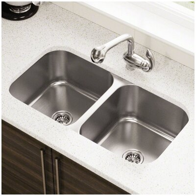 32.25 x 18 Double Bowl Undermount Stainless Steel Kitchen Sink