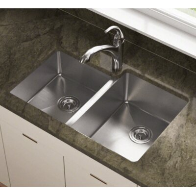 31.25 x 20.5 Offset Double Bowl Stainless Steel Undermount Kitchen Sink