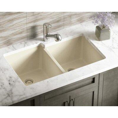 32.5 x 20.38 Double Offset Bowl AstraGranite Kitchen Sink Finish: Beige