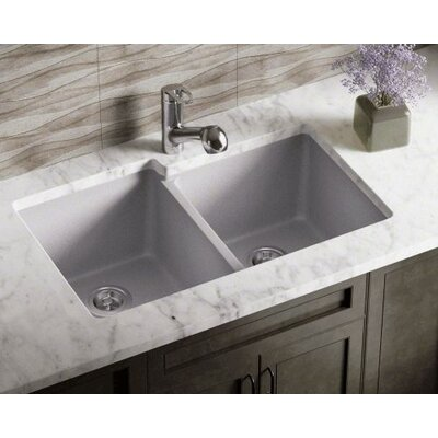 32.5 x 20.38 Double Offset Bowl AstraGranite Kitchen Sink Finish: Silver