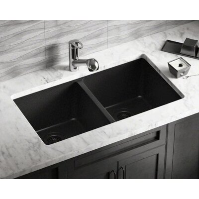 32.5 x 18.63 Double Equal Bowl AstraGranite Kitchen Sink Finish: Black