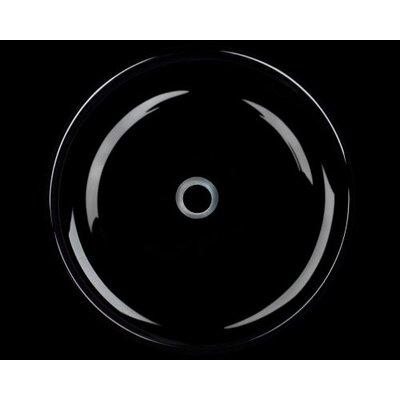 Glass Circular Vessel Bathroom Sink Sink Finish: Black