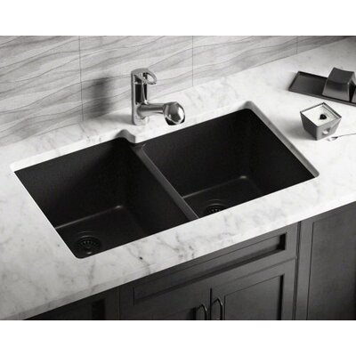 32.5 x 20.38 Double Offset Bowl AstraGranite Kitchen Sink Finish: Black