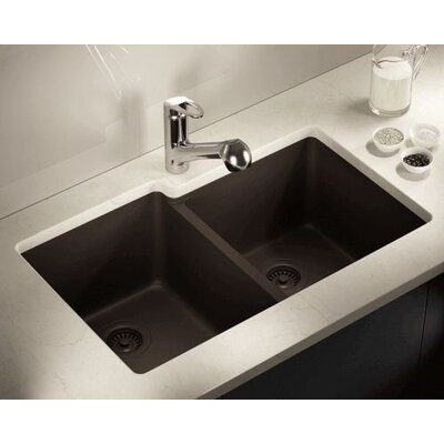 32.5 x 20.38 Double Offset Bowl AstraGranite Kitchen Sink Finish: Mocha