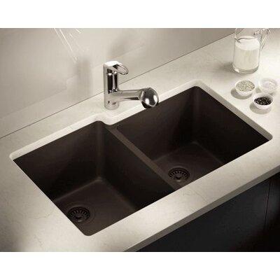 32.5 x 20.38 Double Offset Bowl AstraGranite Kitchen Sink Finish: Mocha
