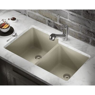 32.5 x 20.38 Double Offset Bowl AstraGranite Kitchen Sink Finish: Slate