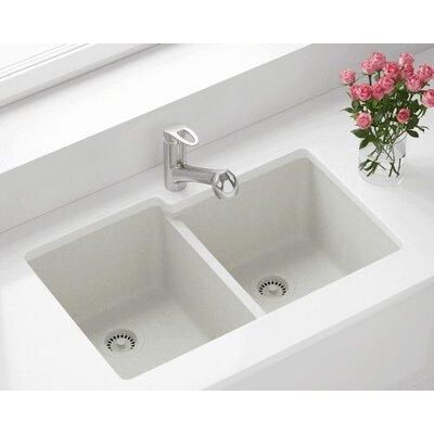 32.5 x 20.38 Double Offset Bowl AstraGranite Kitchen Sink Finish: White
