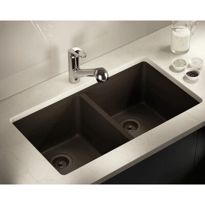 32.5 x 18.63 Double Equal Bowl AstraGranite Kitchen Sink Finish: Mocha