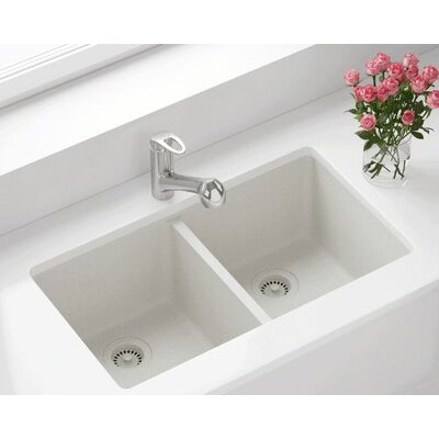 32.5 x 18.63 Double Equal Bowl AstraGranite Kitchen Sink Finish: White