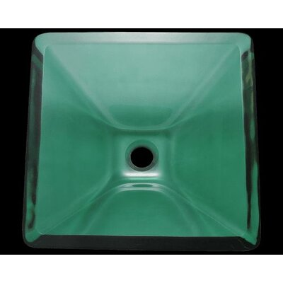 Glass Square Vessel Bathroom Sink Sink Finish: Emerald