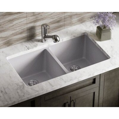 32.5 x 18.63 Double Equal Bowl AstraGranite Kitchen Sink Finish: Silver