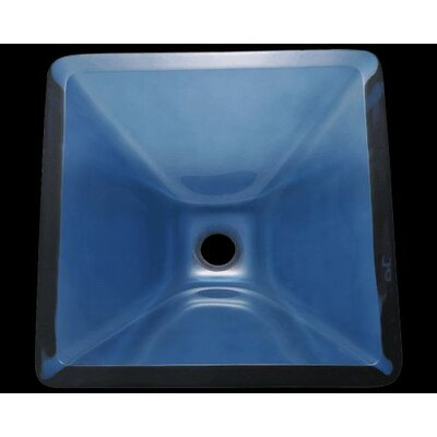 Glass Square Vessel Bathroom Sink Sink Finish: Aqua