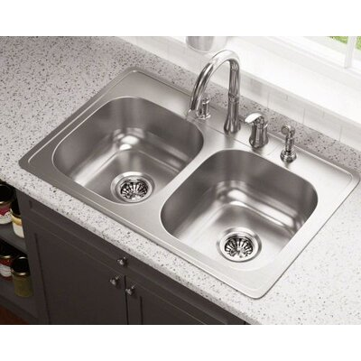 33 x 22 Double Bowl Drop-In Stainless Steel Kitchen Sink