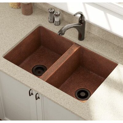 33 x 22 Equal Double Bowl Copper Undermount Kitchen Sink