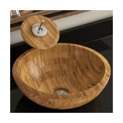 Bamboo Circular Vessel Bathroom Sink