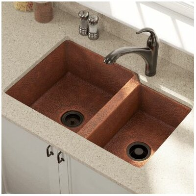 33 x 22 Offset Double Bowl Undermount Kitchen Sink