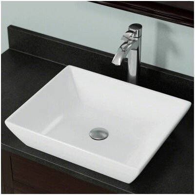 Porcelain Rectangular Vessel Bathroom Sink Sink Finish: White