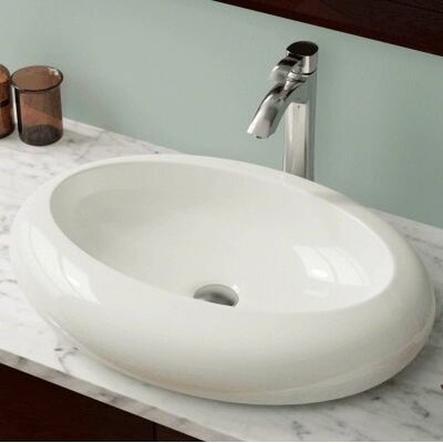 Porcelain Oval Vessel Bathroom Sink Sink Finish: Bisque