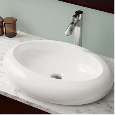 Porcelain Oval Vessel Bathroom Sink Sink Finish: White