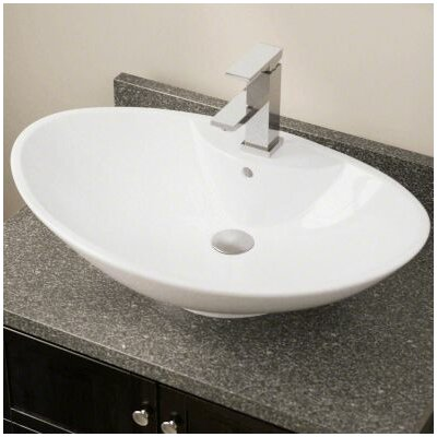 Porcelain Oval Vessel Bathroom Sink with Overflow Sink Finish: White