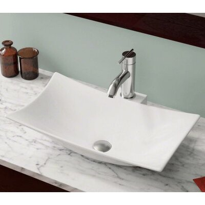 Vitreous China Rectangular Vessel Bathroom Sink Sink Finish: White